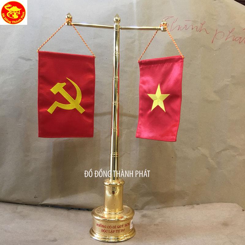 Cột Cờ Thân Trúc Đế Tròn Mạ Vàng 24 k Cao 55 Cm Để Bàn Làm Việc Cho Khách Tại Hà Nội