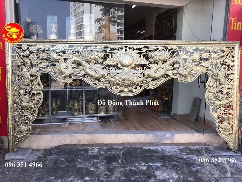 Bộ Cửa Võng Thờ Bằng Đồng Mẫu Long Lân Quy Phụng Dài 2,27 m Rộng 1,27 m Dèm 81 cm
