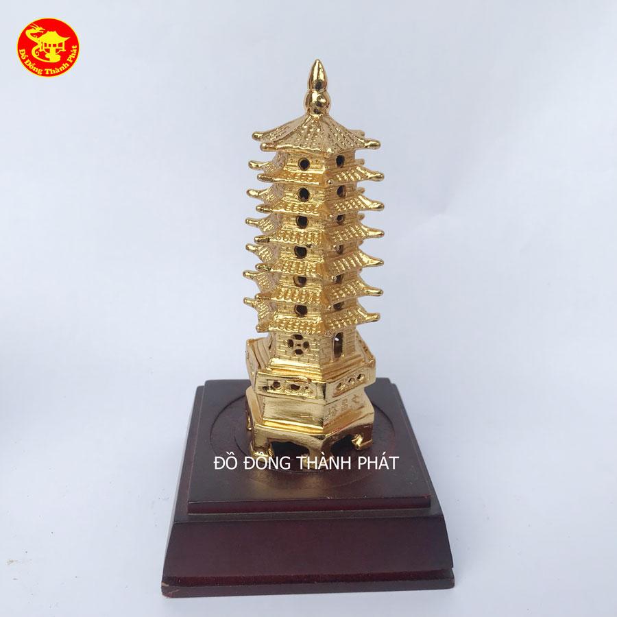 Quà Tặng - Tháp Văn Xương 7 Tầng Bằng Đồng Mạ Vàng 24k Cao Cấp - Đồ Đồng Phong Thủy