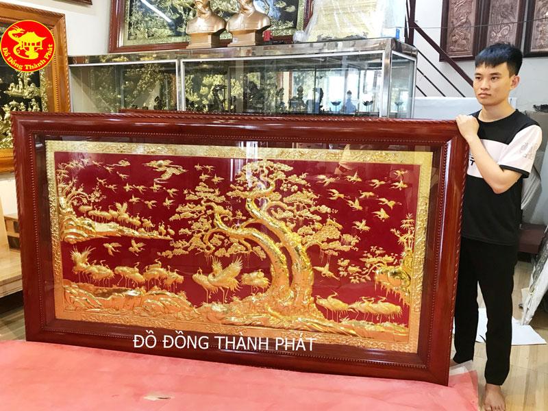 Tranh Đồng Phủ Vàng Ròng 9999 Tùng Hạc Diên Niên Bằng Đồng Bán Tại Đồng Đa Hà Nội