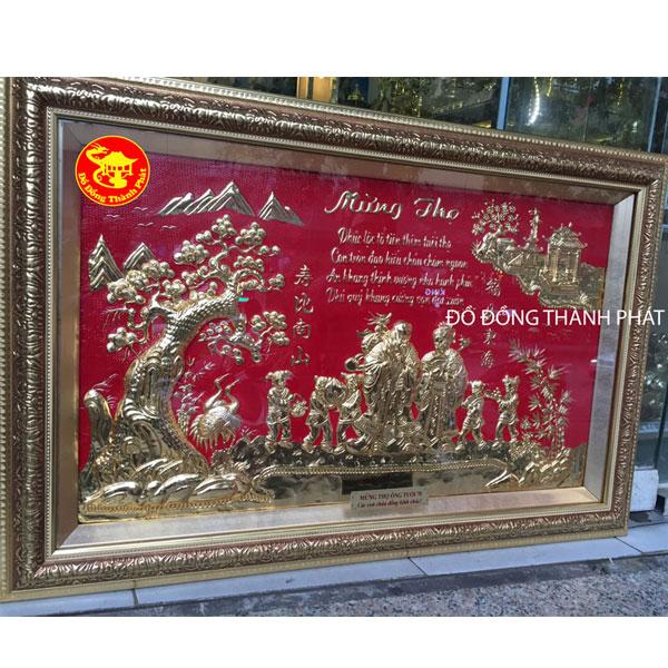 Tranh Đồng Mừng Thọ Song Cụ| Địa Chỉ Bán Tranh Đồng Mạ Vàng Đẹp Uy tín