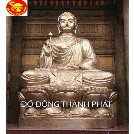 Đúc Tượng Phật Thích Ca Mâu Ni Cầm Cành Sen Bằng Đồng Cao 3 m