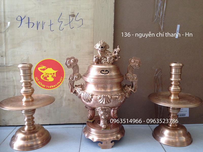 Bộ Thất Sự Đỉnh Đồng Đỏ Hoa Sòi Cao 50 cm