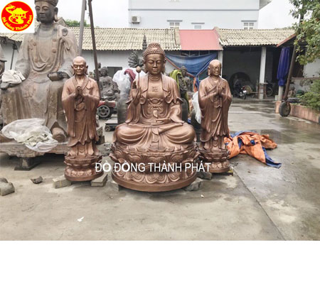 Đúc Tượng Phật Bằng Đồng Tam Tôn Tượng Phật Cao 1,97 m Cho CHùa Tại Hà Nội