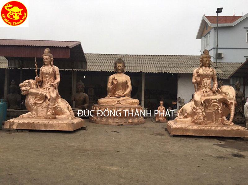 Đúc Bộ Tượng Phật Tam Tôn Tượng Phật Bổn Sư Thích Ca Mâu Ni, Bồ Tắt Văn Thù Phổ Hiền Bồ Tát cao 4 m