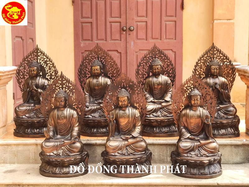 Đúc Tượng Phật Bằng Đồng tượng Dược Sư Lưu Ly Như Lai Quang Phật 7 Pho Cao 74 Cm