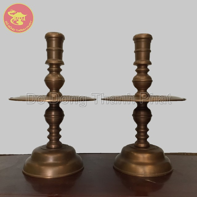 Chân nến đồng hun giả cổ cao 50 cm