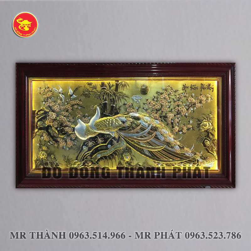 Tranh Hoa khai phú quý bằng đồng dài 2,3 mét khung gỗ tự nhiên
