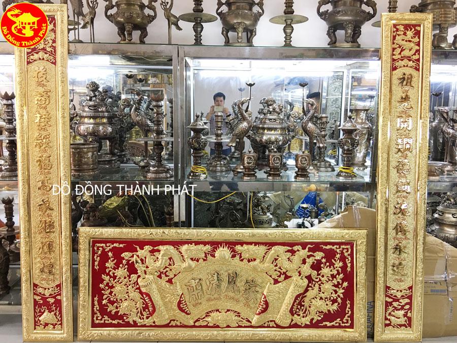 Bộ Hoành Phi Câu Đối Bằng Đồng Mạ Vàng 24k tại Hà Nội