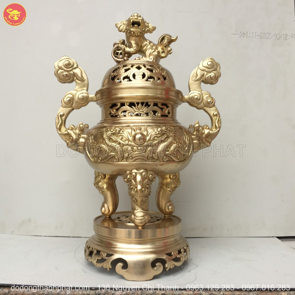 Bộ ngũ sự đồng vàng long phụng cao 50 cm