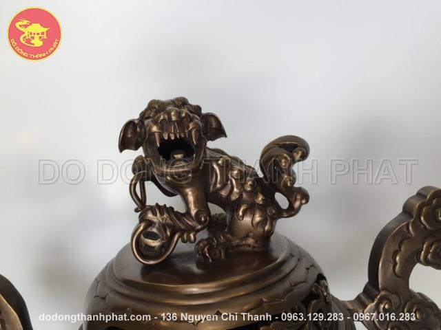 Đỉnh đồng long phụng giả cổ đồng hun cao 50 cm