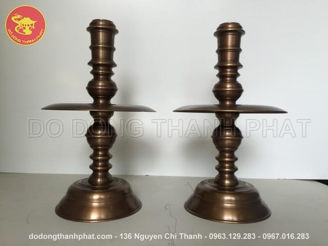 Bộ đồ thờ cúng bằng đồng tam sự đỉnh nến long phụng giả cổ đồng hun cao 50 cm