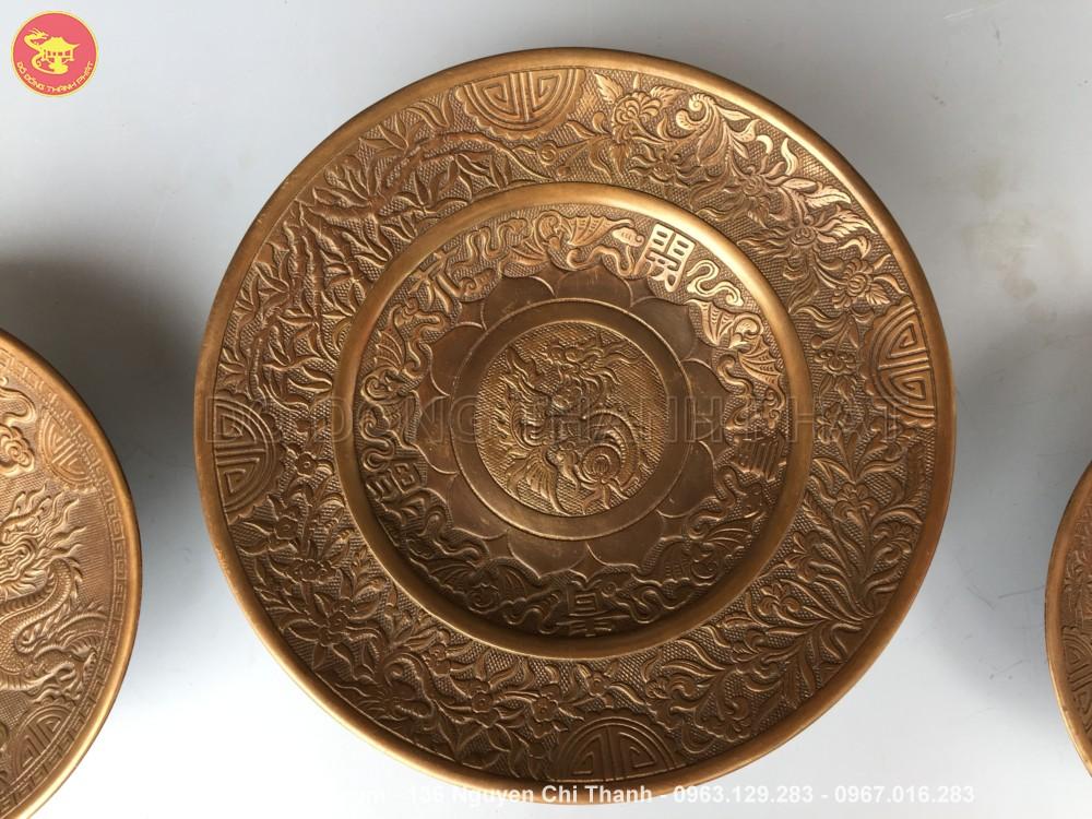 Mâm bồng bằng đồng hun nâu giả cổ đường kính 50 cm