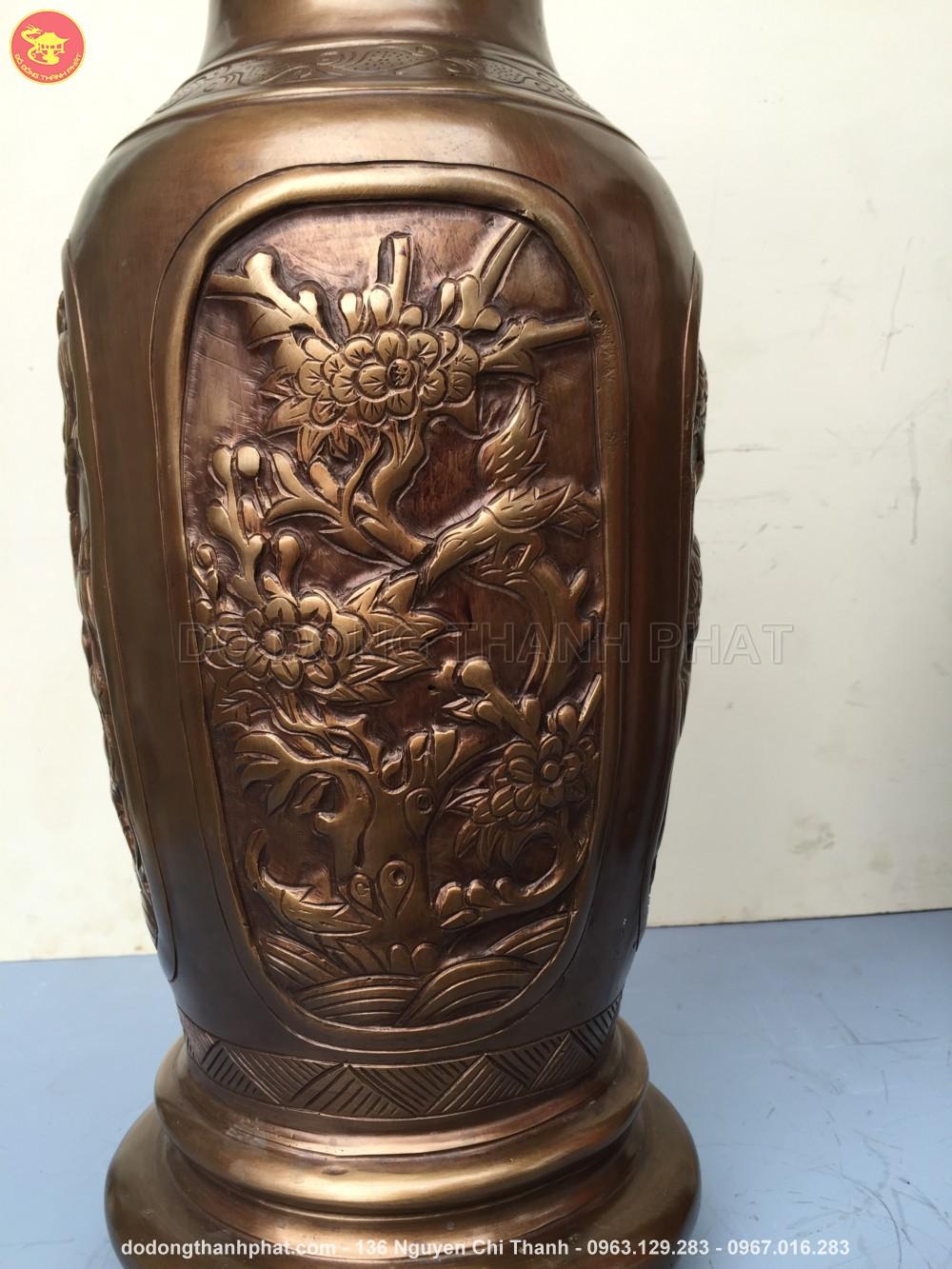 Lọ hoa tứ quý Tùng Cúc Trúc Mai bằng đồng cao 55 cm