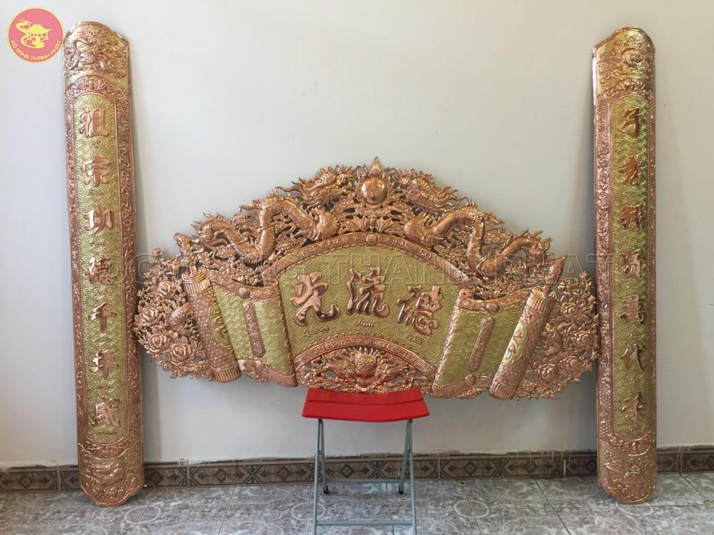 Bộ Cuốn Thư Câu Đối Đồng Vàng Dài 1,76 m, cao 88 cm