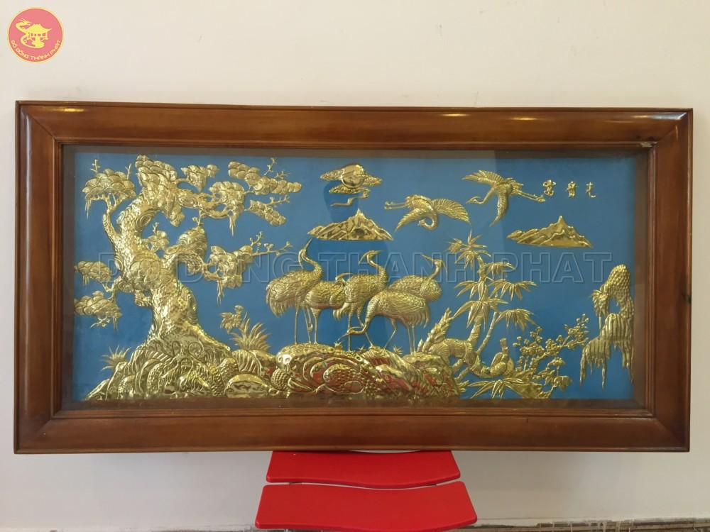 Tranh đồng phong thuỷ tùng hạc diên niên dài 1,5m, cao 80cm