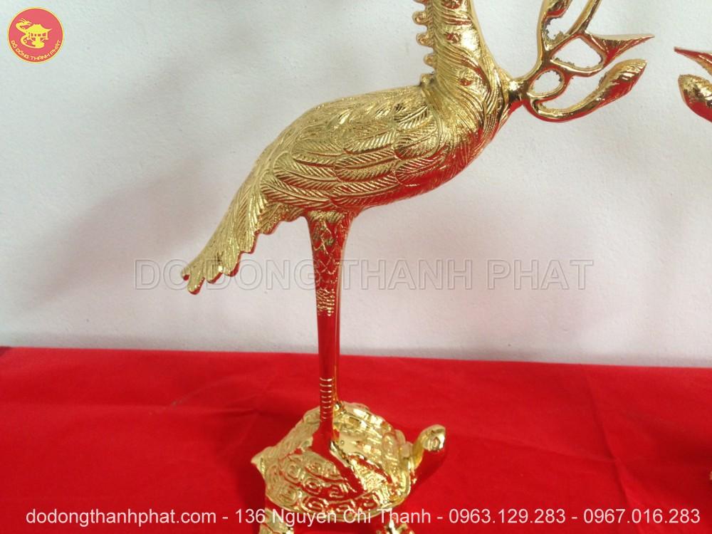 Hạc đồng thờ cúng mạ vàng 24k cao 45 cm
