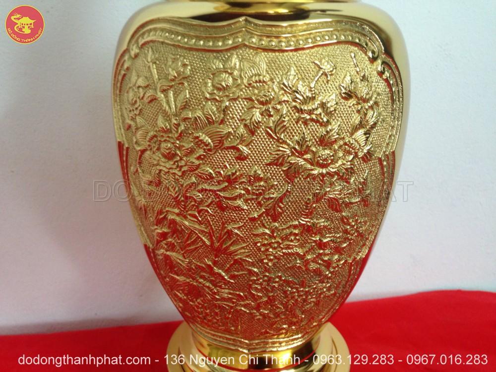 Lọ hoa bằng đồng mạ vàng 24k cao 56 cm