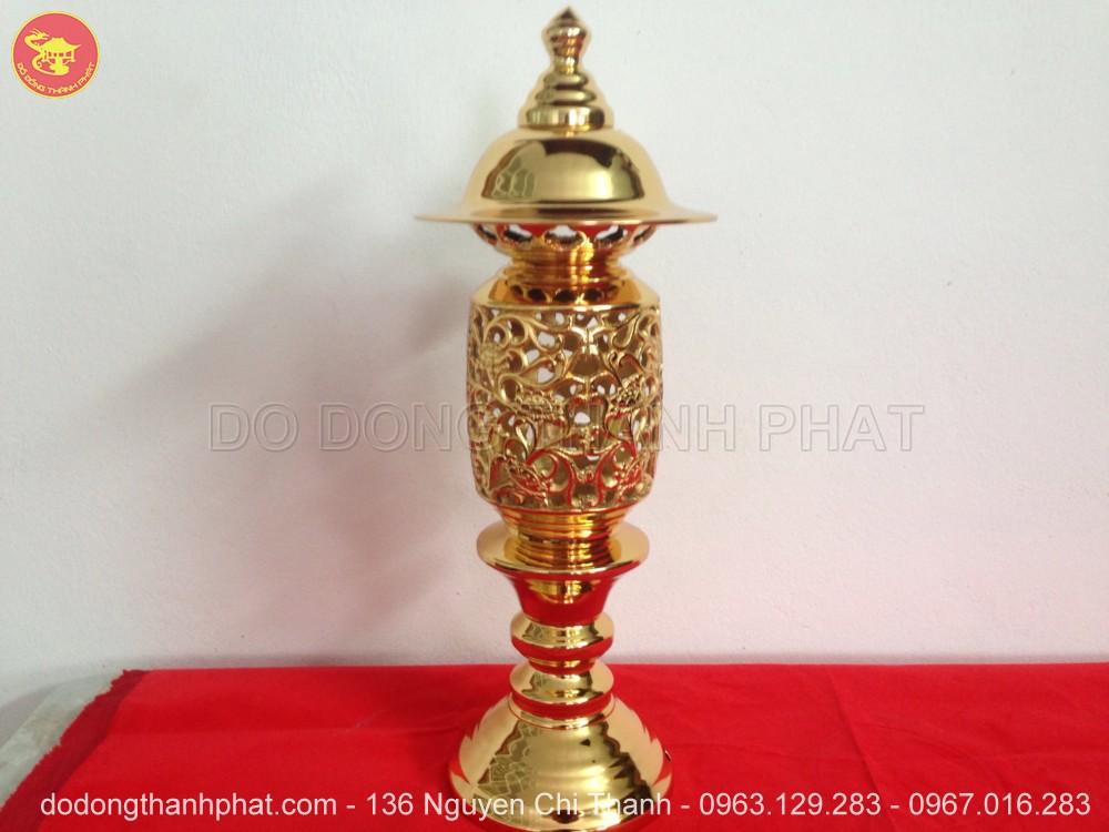 Đèn Phật quang phổ chiếu quả dứa mạ vàng 24k cao 42 cm