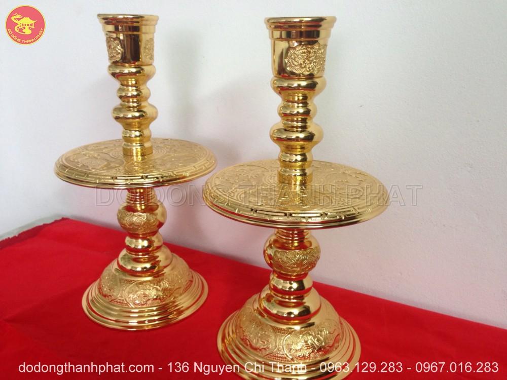 Chân nến đồngmạ vàng 24k cao 40 cm