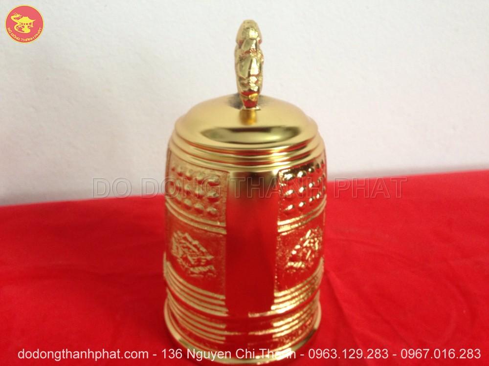 Đồ Thờ Cúng Chuông Đồng Mạ vàng 24k Thờ Tại Gia Cao 18 cm