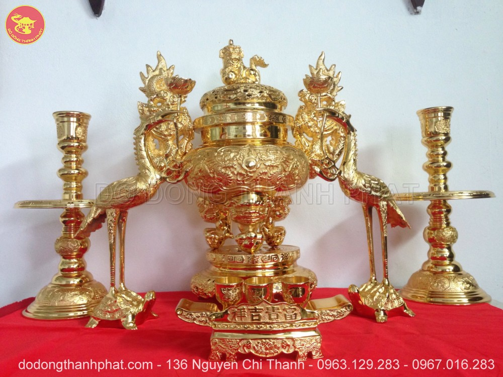 Bộ ngũ sự bằng đồng mạ vàng 24k cao 56 cm