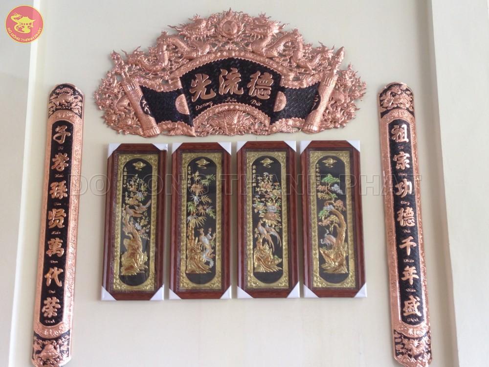Bộ Cuốn Thư Câu Đối Đồng Đỏ Dài 1,76 m, cao 88 cm
