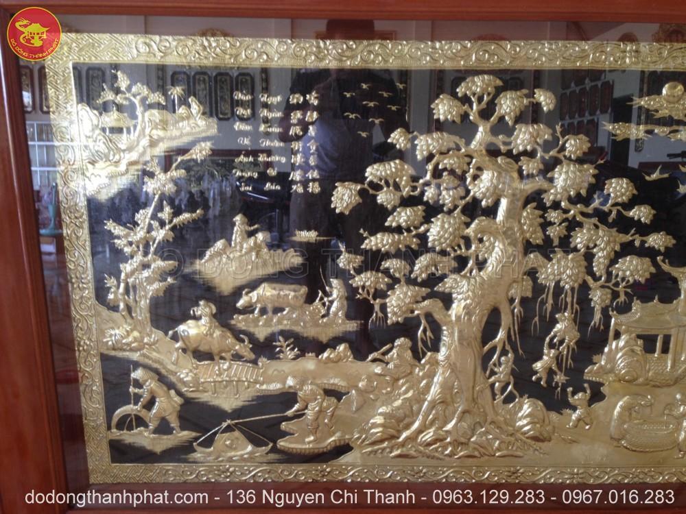 Bức Tranh Đồng Quê Đẹp Đồng vàng Dài 2,3 m rộng 1,2 m