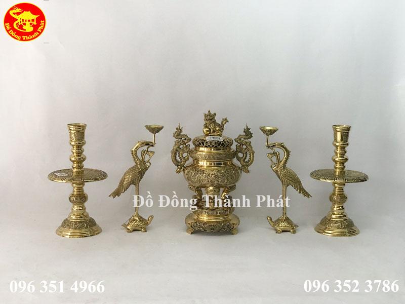 Bộ thờ cúng ngũ sự bằng đồng vàng cao cấp