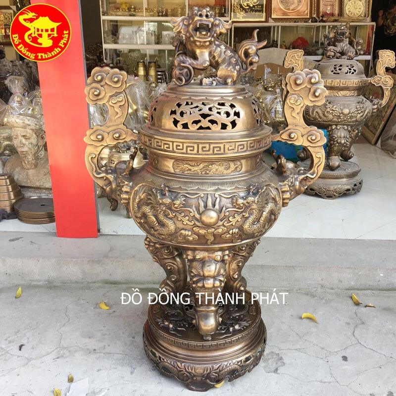 Đỉnh Đồng Song Long Trầu Nguyệt Hun Giả Cổ tại Hà Nội