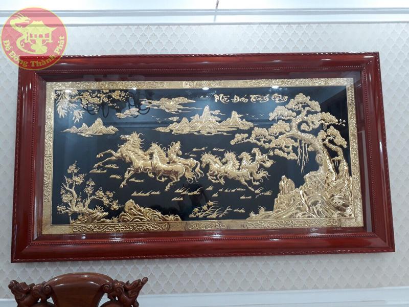 Mẫu Tranh Đồng Mã Đáo Thành Công Mạ Vàng 24k Treo Phòng Khách Cực Đẹp