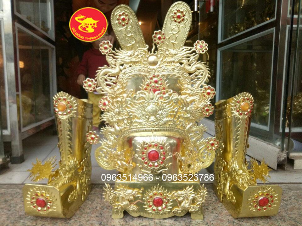 Bộ Mũ Quan bằng Đồng Dùng Cho Đền, Đình, Điện Các Quan Cao 42 cm