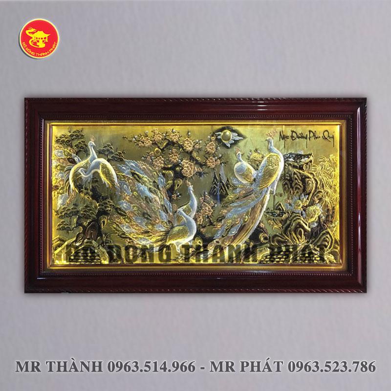 Tranh Ngọc Đường quý bằng đồng dài 2,3 mét khung gỗ tự nhiên