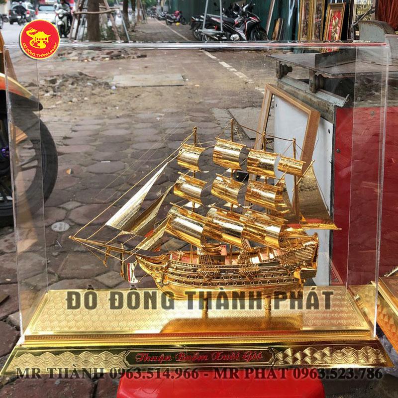Mô Hình Thuyền Bằng Đồng mạ Vàng 24k