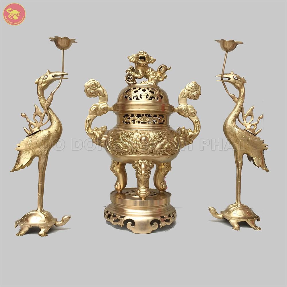 Bộ tam sự đỉnh hạc đồng vàng long phụng cao 50 cm