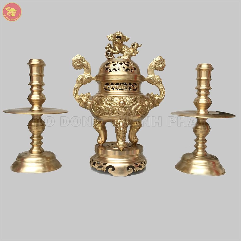 Bộ tam sự đỉnh nến đồng vàng long phụng cao 50 cm
