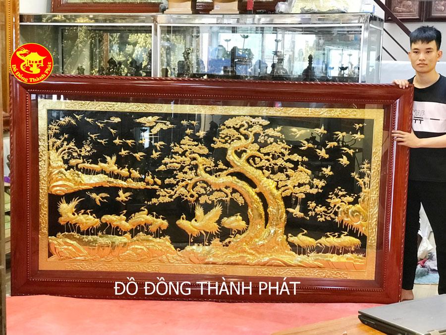 Tranh Đồng Mạ Vàng 24 k, Tranh Bách Hạc Quần Tùng Mạ Vàng Cao Câp Treo Phòng Khách