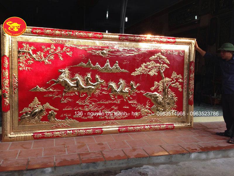 Mẫu Tranh Đồng Mã Đáo Thành Công Khung Bo Đồng Mạ Vàng 24k