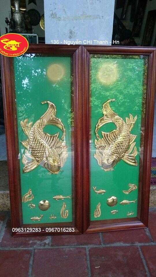 Tranh Lý Ngư Vọng Nguyệt Bằng Đồng Thiếp Vàng 9999