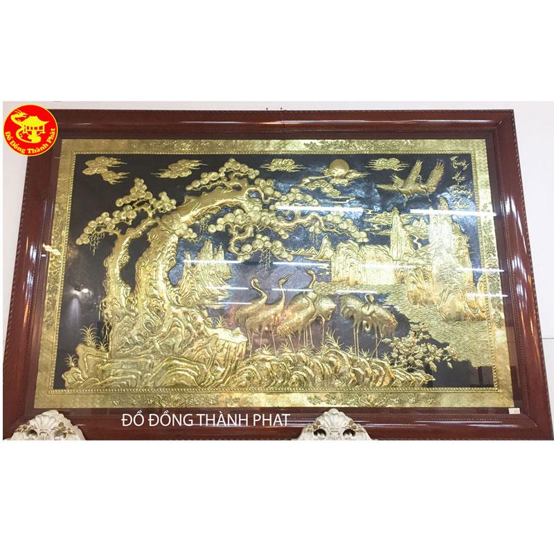 Tranh Đồng Cửu Hạc Trường Tồn Mạ Vàng 24k| Địa Chỉ Bán Tranh Đồng Đẹp
