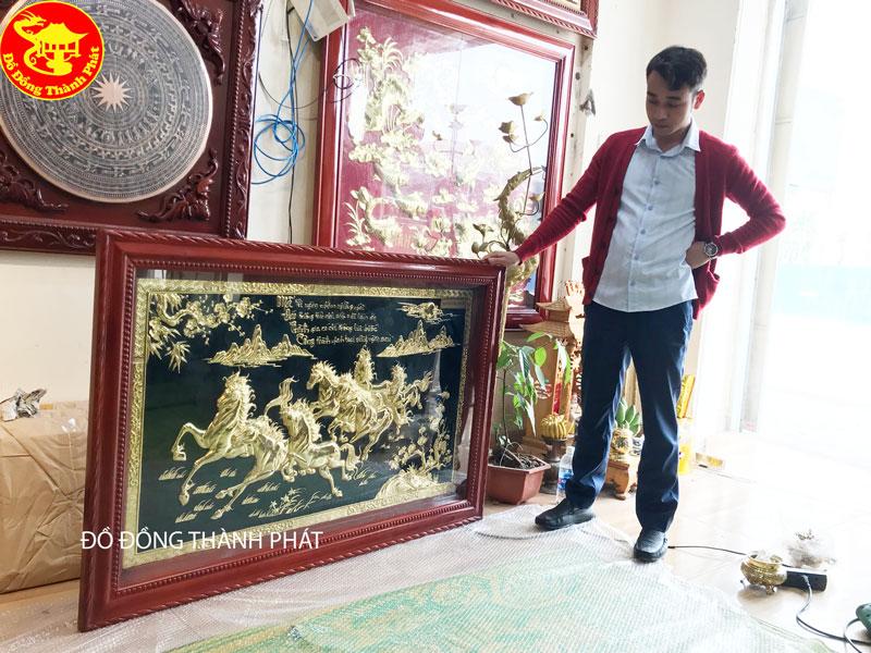 Tranh Đồng Mã Đáo Thành Công Phủ Vàng Ròng Dài 1,33 m Rộng 88 Cm