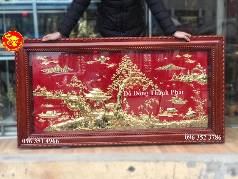 Tranh Đồng Quê Bằng Đồng Mạ Vàng 24k