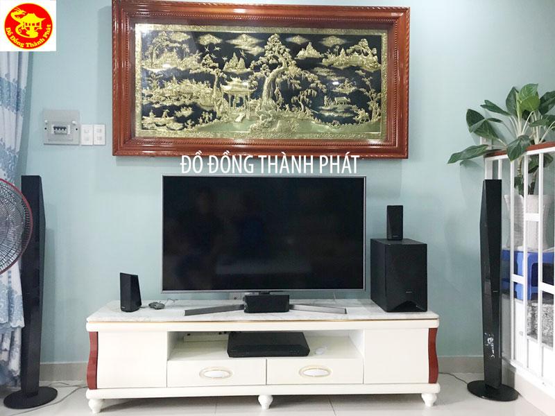 Tranh Đồng Quê Bằng Đồng Treo phòng Khách Dài 1,55 m Rộng 88 Cm
