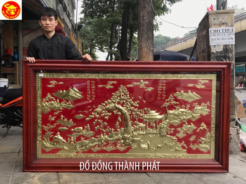 Tranh Làng Quê Việt Nam Bằng Đồng Sơn Nền Đỏ Gỗ Hương Trạm Tay Tinh Xảo 8 Dem