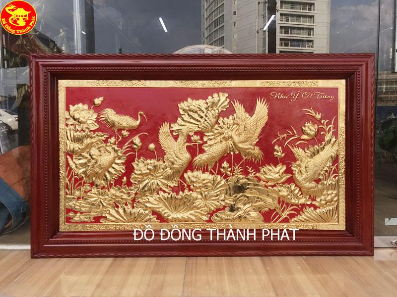 Tranh Đồng Sen Hạc Mạ Vàng 24k