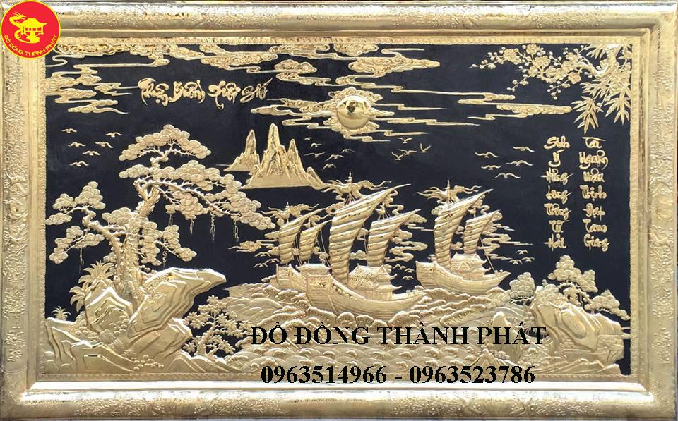 Tranh Đồng Phong Thủy - Thuận Buồm Xuôi Gió Mạ Vàng