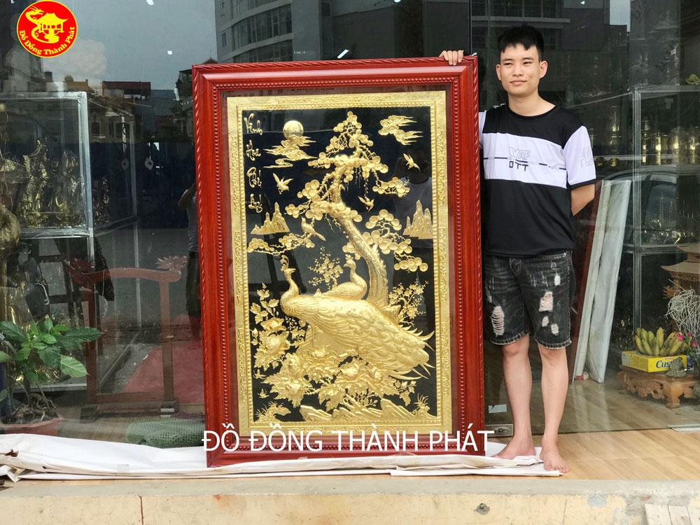 Tranh Đồng Vinh Hoa Phú Quý Mạ Vàng 24k Khuân Đứng Tranh Treo Tường Cao Cấp.