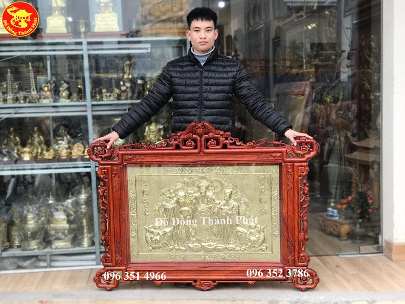 Tranh Đồng Phúc Lộc Thọ Mạ Vàng 24k