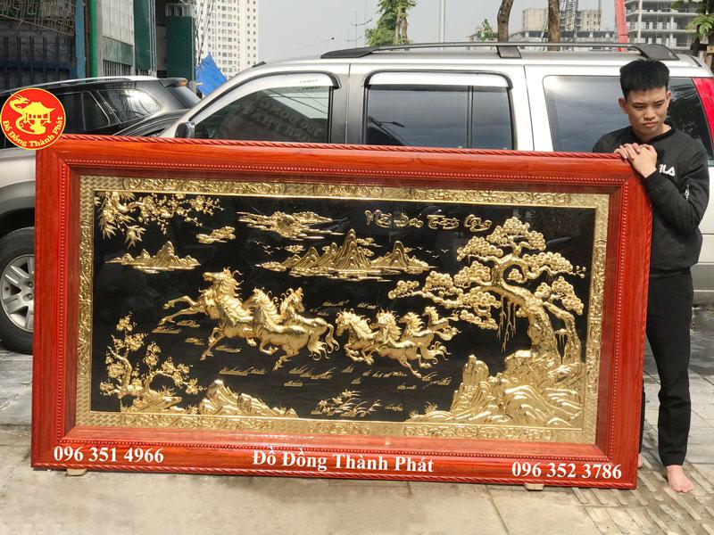 Tranh Mã Đáo Thành Công Bằng Đồng Mạ Vàng 24k