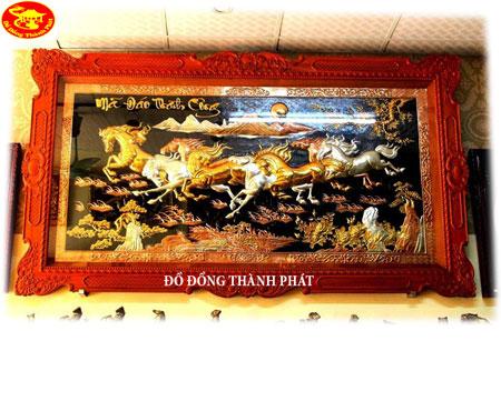 Tranh Mã Đáo Thành Công Khung Hương Đỏ Đục Tân Cổ Điển Mạ vàng 24 k Cực Đẹp Cho Khách Tân Bình TP.HCM